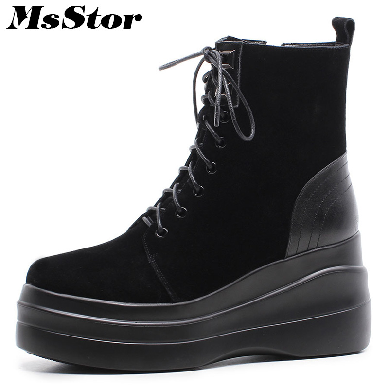 MsStor Women Boots Round Toe Wedges Ankle Boots Women Winter Shoes Thick Bottom Lace Up Short Plush Black Boot Shoes For Woman