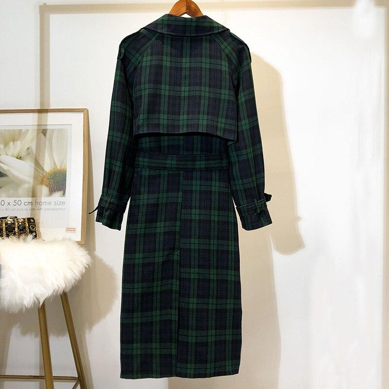 5XL ใหม่ Elegant ผู้หญิงลายสก๊อต Trench ขนาดใหญ่เสื้อคู่หน้าอก 2018 ฤดูใบไม้ร่วง Vintage เข็มขัด Outwear หลวมฤดูหนาวเสื้อผ้า O21 1-ใน โค้ทยาว จาก เสื้อผ้าสตรี บน   2