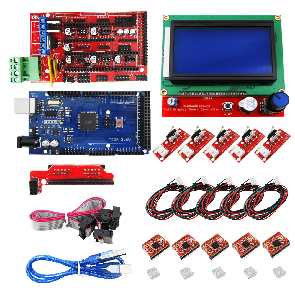 Купить с кэшбэком Mega 2560 R3 + RAMPS 1.4 Controller + LCD 12864 + 5 Limit Switch Endstop + 5 A4988 Stepper Driver