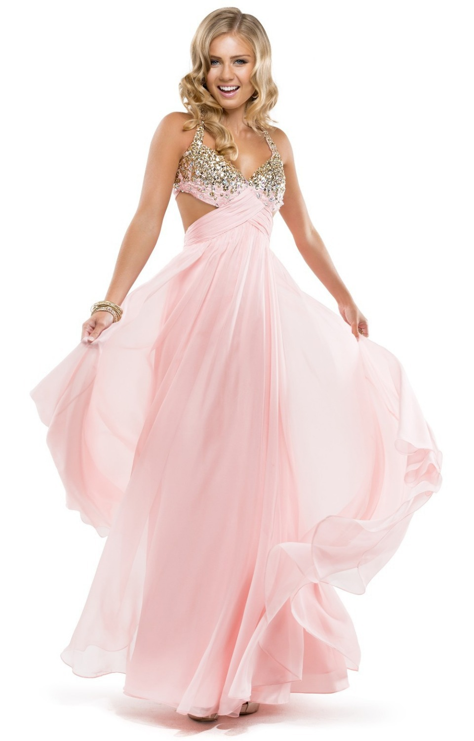 2014 Cute Open Back Pink Prom Dresses Bow Criss Cross Beaded Cut ...