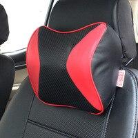 1pc Car Neck Pillow Leather Pillow Memory Cotton Car Pillow 3D Slow ReboundCar Bone Pillow