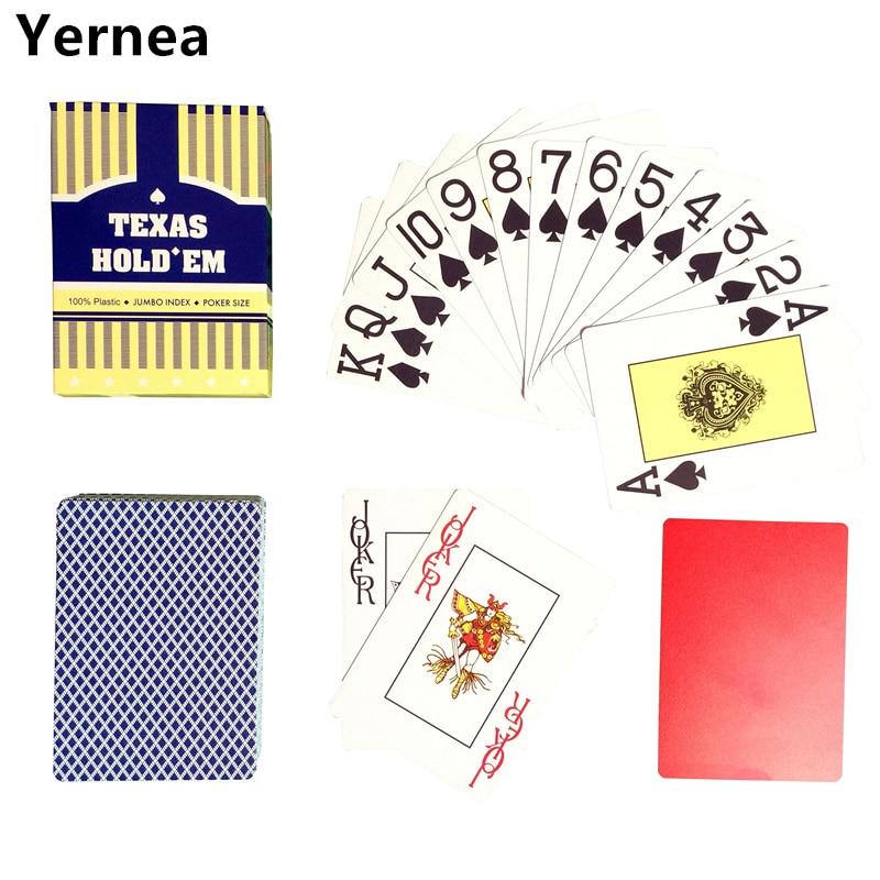Nueva llegada rojo y azul 1 pieza de póker Baccarat Texas Holdem Frosting plástico jugando a las cartas 2.48 * 3.46 pulgadas Yernea