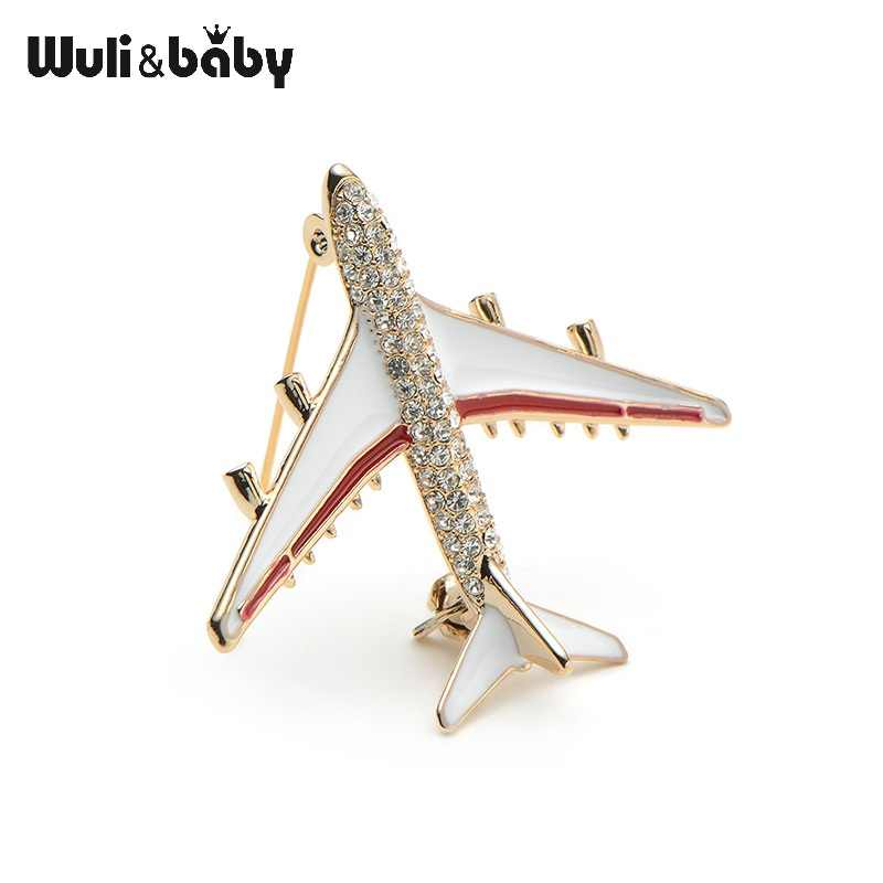 ... Wuli Baby Alloy Airplane Brooch Pins Rhinestone Red Plane Luxury Brand  Brooches For Women Quality Gift Aircraft ... 20e75c3d40a1