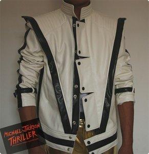 MJ одежда Майкл Джексон, Thriller белая кожа классический MV показать США звезда имитация английский военный ретро куртка