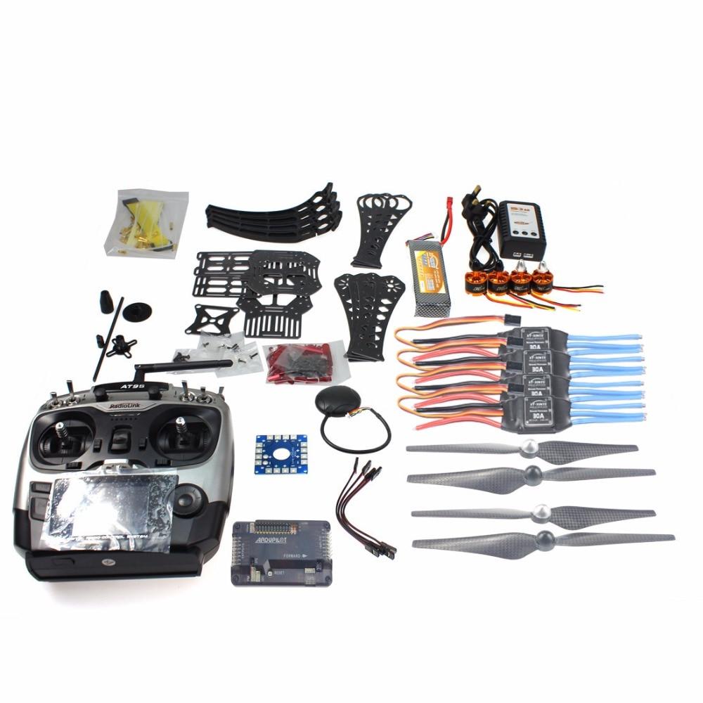 DIY RC Drone Quadrocopter RTF X4M360L Frame Kit with GPS APM 2.8 AT9S Transmitter TX RX F14892-C f14892 f diy rc drone quadcopter rtf x4m360l frame kit with qq super flight control motor esc flysky fs i6 transmitter battery