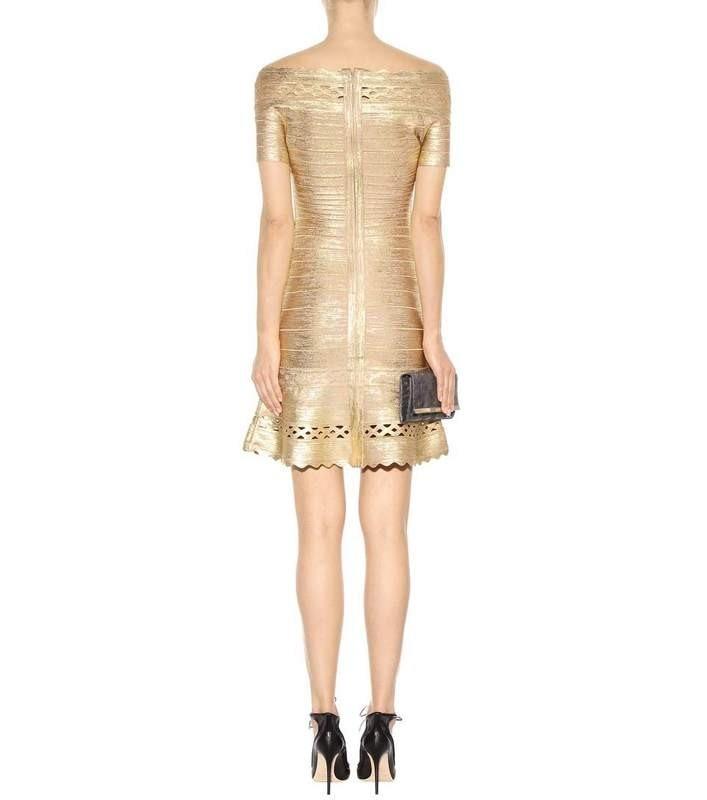 Neueste HL Top Qualität Gold Slash Neck Aline Rayon Verband Kleid ...