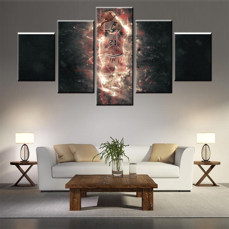 tim duncan nba star canvas painting 5pcs wall art poster wall