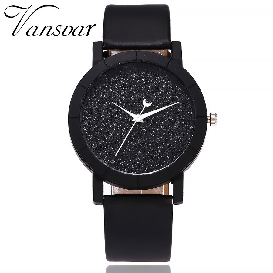 Vansvar Cute Moon Stars Design Analog Wrist Watch Women Unique Romantic Starry Sky Dial Casual Fashion Quartz Watches Women Gift