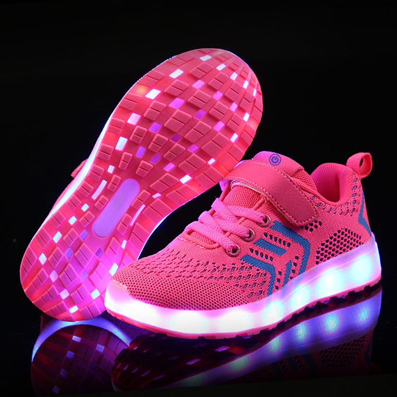 2018 New 25-37 USB Charger Glowing Sneakers Led Children Lighting Shoes Boys Girls illuminated Luminous Sneaker