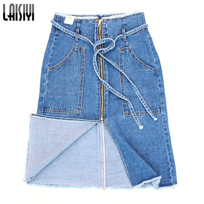 LAISIYI Fashion Lace Up Skirt High Waist Zipper Pockets Slim Denim Jeans Skirts Blue Casual Saia Midi Falda Mujer ASSK20158