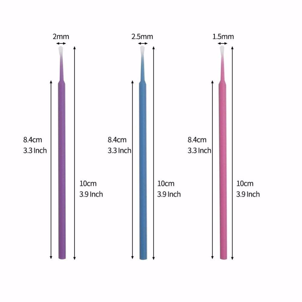 100 Pcs Eyelash Brushes Dental Micro Brushes Disposable Materials Eyelashes Mascara Wands Applicators Medium Fine Makeup Tools 4