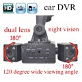 new arrival hot sale H3000 Rotatable Dual Lens Car DVR Camera Recorder With 120 degree wide viewing angle 8 IR LED Night Vision