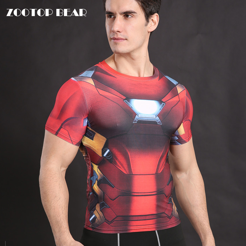 Compression T shirt Iron Man T-shirt Men Fitness Tops Crossfit Shirt Elastic Tee Superhero Tight Dry Camiseta Male  ZOOTOP BEAR