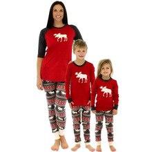 1315e2e94a ROPALIA Family Matching Christmas Sleepwear Mom Dad Deer Striped Pajamas  Set(China)