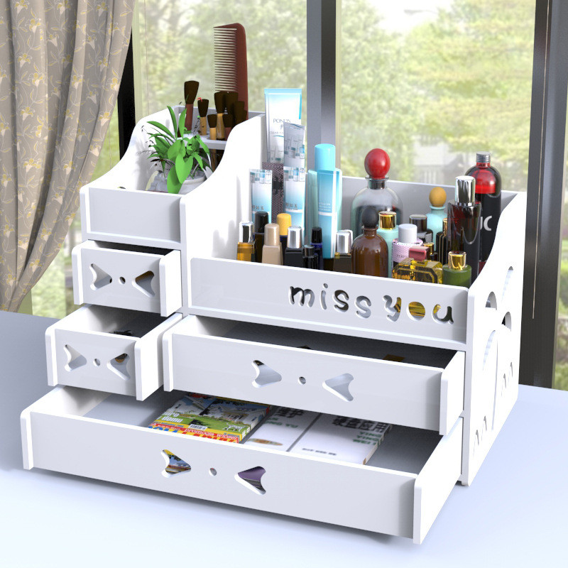 LASPERAL Plastic Cosmetic Storage Box Organizer Wood Desktop Organizer Holder Makeup Remote Control Case Sundries Home Storage