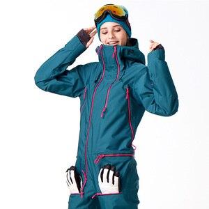 Image 2 - FIUME che scorre Marca Giacca Impermeabile Per le donne Snowboard Suit donne Giacca Da Snowboard Donna Snowboard Set Abbigliamento # B7091