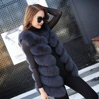 Fashion Genuine Fox Fur Vest Women Winter Long Fox Fur Coat Jacket Autumn Winter Ladies Gilet