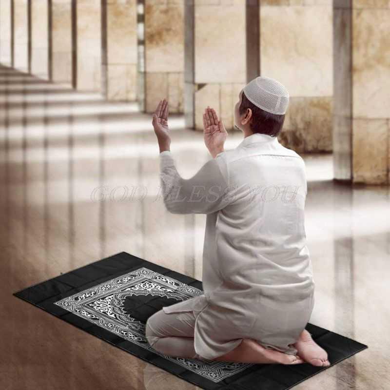 Портативный водонепроницаемый мусульманский коврик для молитв ковер с компасом винтажный узор исламский ИД украшение подарок карманный размер сумка на молнии стиль