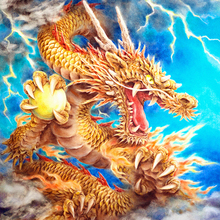 New Diamond Mosaic Cross Stitch Kits Golden Chinese Dragon Full Embroidery Painting Home Decoration GT