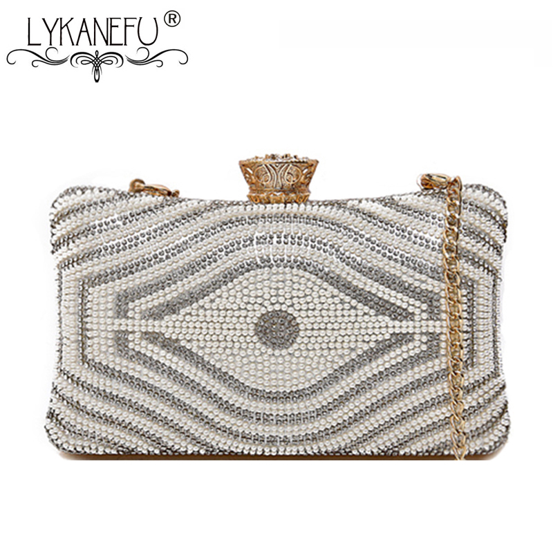 LYKANEFU Beading Pearls Evening Bag Clutch Purse Hasp Lock Women Bag Day Clutches Ladies Wedding Hand Bag Chain Shoulder Bags women day clutch ladies purse chain handbags women evening bag purple bride wedding party hand bags clutches bolsas mujer xa187c