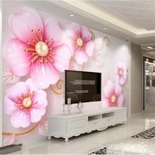 Custom wallpaper 3D three-dimensional jewelry flowers simple European TV background wall painting advanced waterproof material