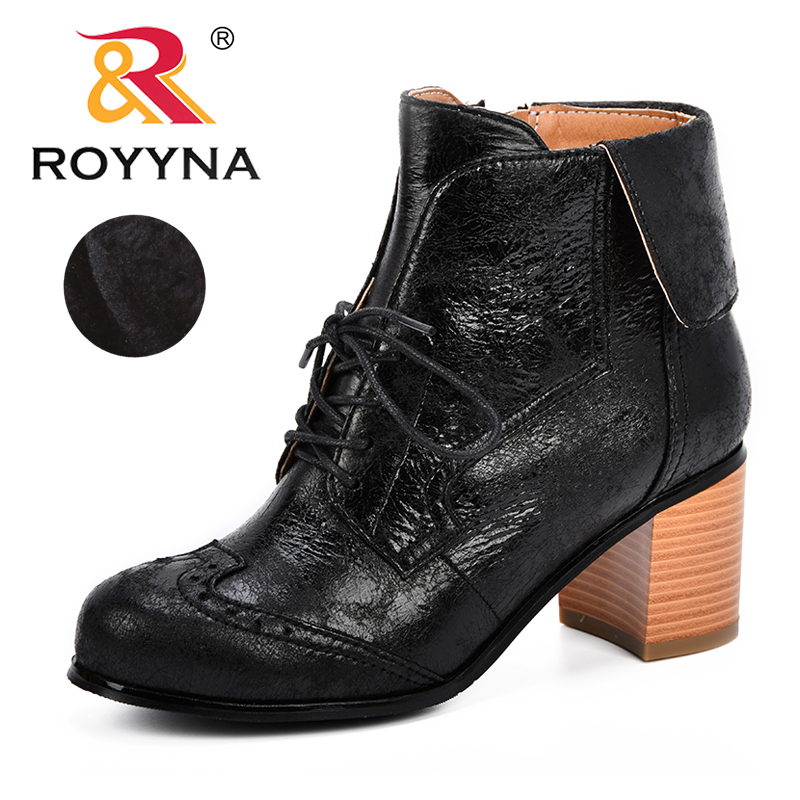 ROYYNA Fashion Leather Boots For Women Ankle Autumn & Winter Womens Shoes High Heels Short Comfortable