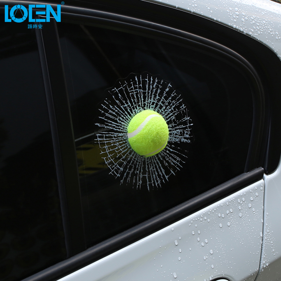 Car-styling 3D Car Sticker Funny Football Basketball Tennis Baseball Hit Window Joking Stikcers Decals Auto Accessories 1PCS