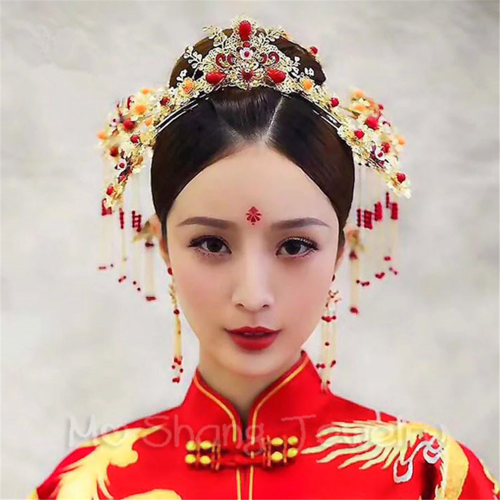 Red Bridal Wedding Hairwear Vintage Chinese Wedding Tiaras Hair Piece Ancient Princess Hair Stick Accessories 00009 red gold bride wedding hair tiaras ancient chinese empress hair piece