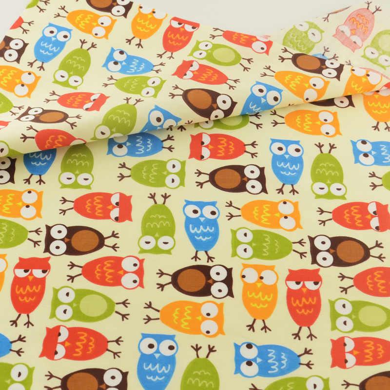 Tela de algodón Teramila, búho Beige, ropa de cama, tejido decorativo para el hogar, textiles de retales, tela de costura, tejido artesanal