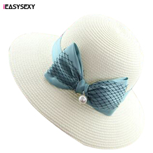 iEASYSEXY Brand 2016 Korean Style Summer Sunscreen Sunshade Straw Cap Fashion Women Adult Casual Folding Beach Hat With Bowknot