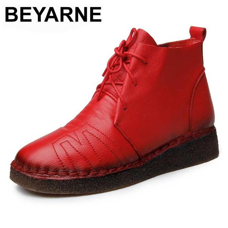 BEYARNE Autumn Winter Women Retro Boots Handmade Ankle Boots Flat Boots Real Genuine Leather Shoes Women Shoes beyarne 2018 women s ankle boots autumn winter soft handmade retro martin boots flat shoes 100