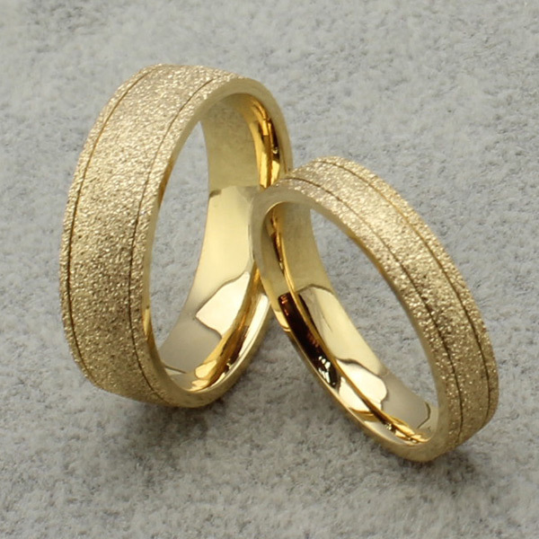 new frosted couple lovers ring 18 k gold engagement wedding rings - Wedding Rings Gold