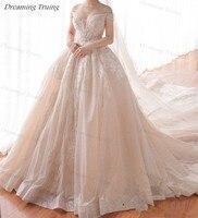 Custom Made 2M Long Train Luxury Vestidos De Casamento Ball Gown Princess Wedding Dresses Off Shoulder Crystals Dubai Bride Gown