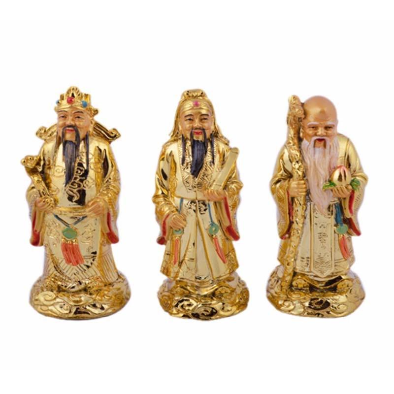 Feng Shui Golden Fu Lu Shou Three Goddesses Fuk Luk Sau H:5