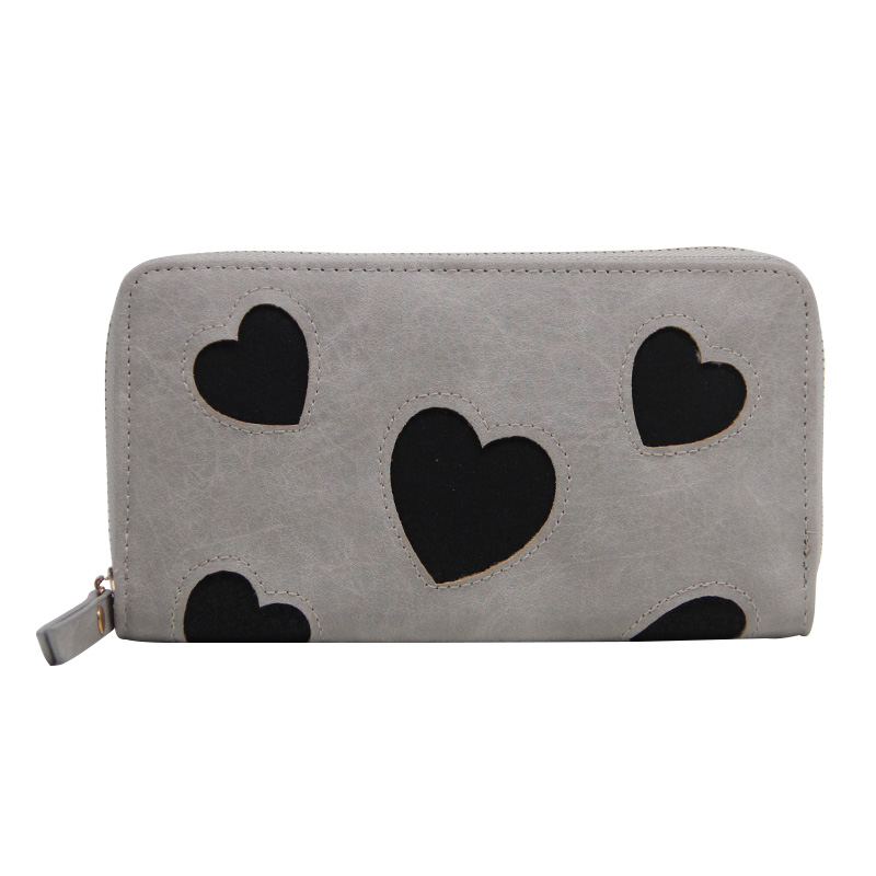 Casual Women Cute Long Wallet Card Holders Female Clutch Bags Fashion Brand PU Leather Wallets Love Heart Pattern Coin Purse silver stone pattern long clutch wallets women pu leather coin purse brand female card holders wallet elegant ladies evening bag