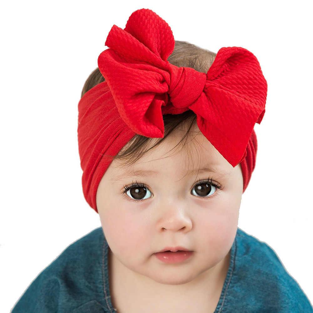 Большой бант Детские нейлоновые оголовья, широкие нейлоновые тюрбаны для волос, для маленькой девочки, аксессуары