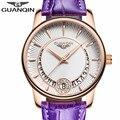Mulheres da moda relógios de luxo da marca guanqin quartz mulher relógios senhoras pulseira de couro jóias relógios relogio feminino