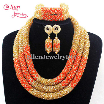 2019 New Arrived Fashion Champagne Orange Crystal Costume necklace sets Bridal Nigerian Wedding African Beads Jewelry Sets E1024