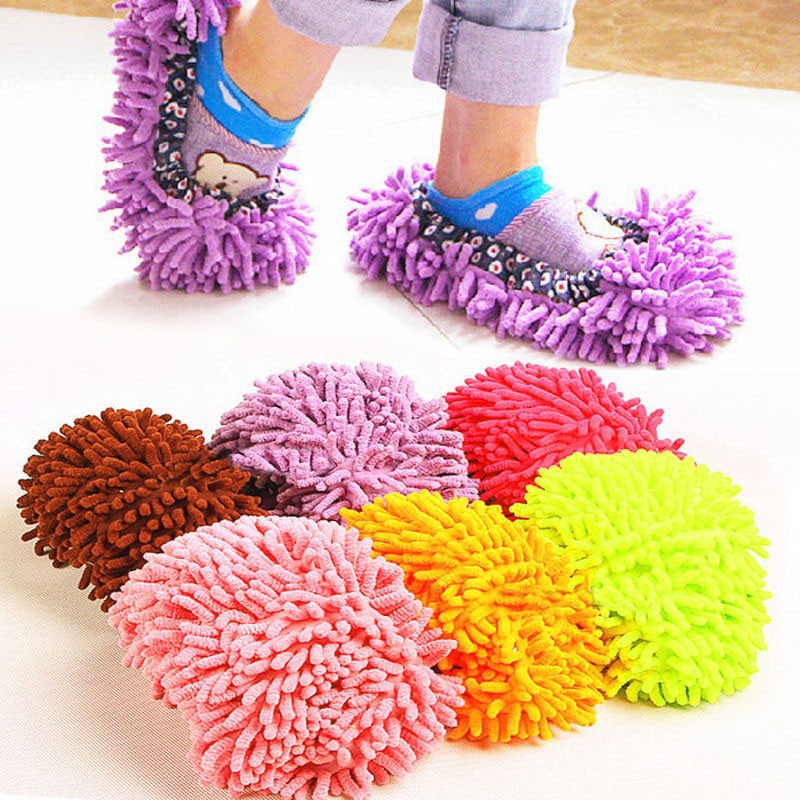 Pantoufles paresseuses Soft Microfiber Home Cleaning Dusting Mopping Slippers (Coffee) M5oqBbvBuU