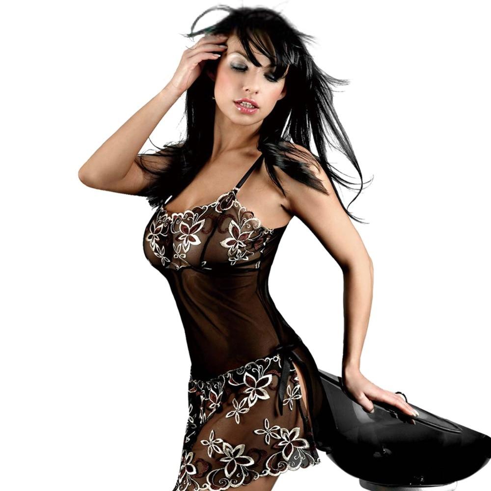 f150799b386e Женщины Сексуальное Женское Белье Платье Набор Корсет Кружева Babydoll  Черный Прозрачный Приманка Пижамы Костюм Сексуальное Нижнее