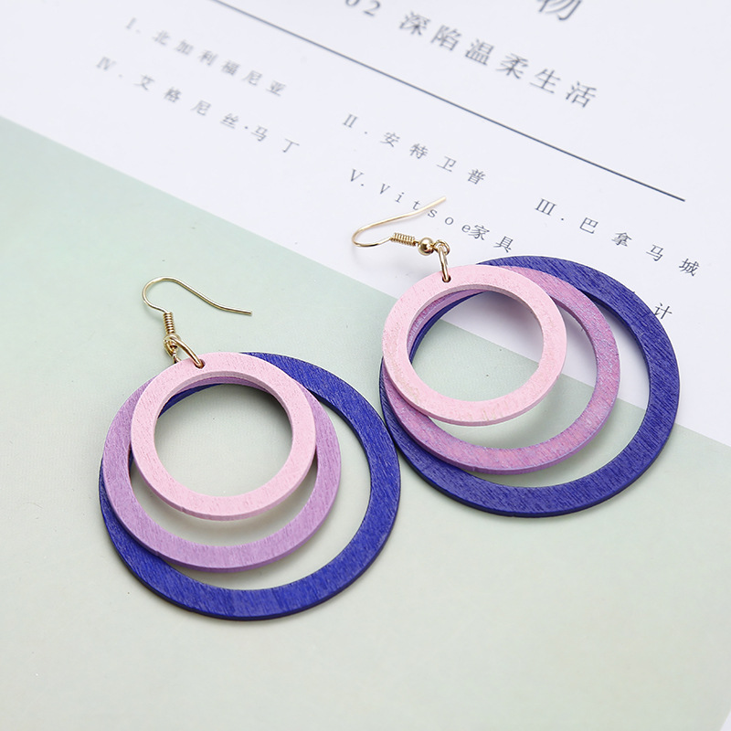 XZP Korean MuiltLayer Wood Drop Earrings For Women Gradient Blue Purple Geometric Round Oval Dangle Earrings Girls Jewelry Gift