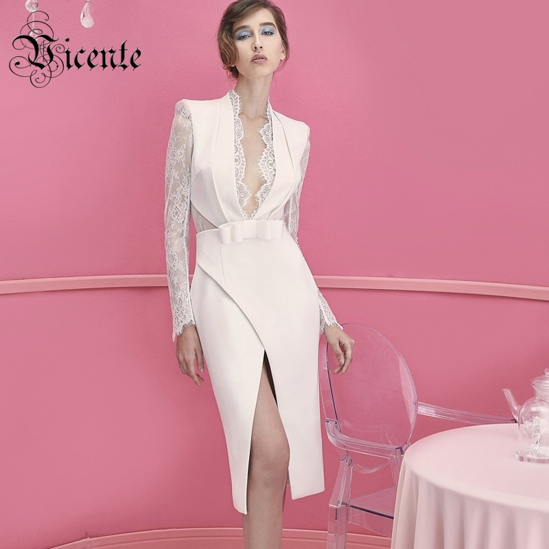 Vicente All Free Shipping HOT Stylish Lace Splicing Long Sleeves Deep V neck Split Bow Wholesale