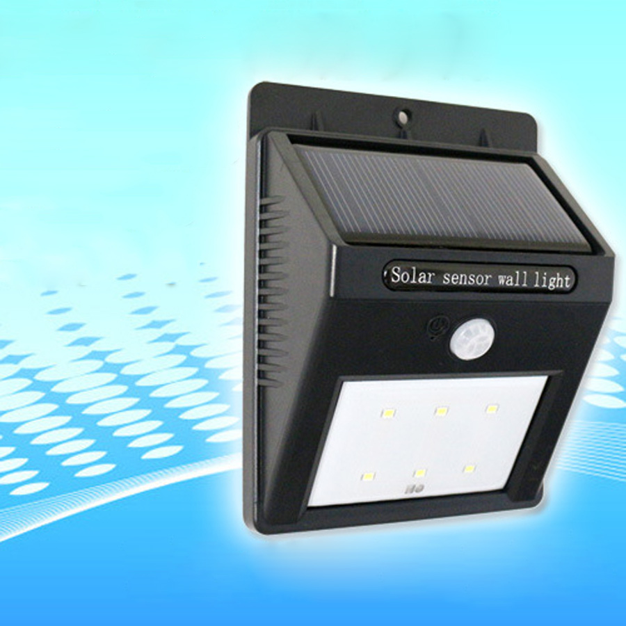 Solar Wall Mounted Lamp With Motion Detector : 6 LED Solar Motion Sensor PIR Wall Mount Garden Light 100% solar powered White blubs Solar wall ...