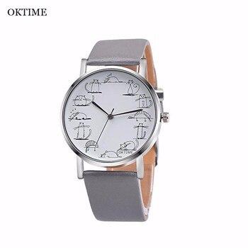 OKTIME 2017 Wrist Watch Fashion Men Watch Lovely Cartoon Leather Quartz-Watch Men Business Watch Clock Relogio Masculino Saat Наручные часы