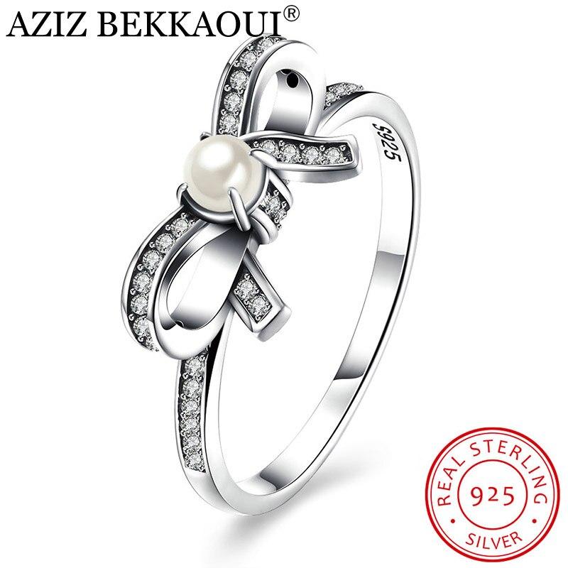 Classic Ring Engagement Wedding-Jewelry 925-Sterling-Silver White Bow-Knot AZIZ BEKKAOUI