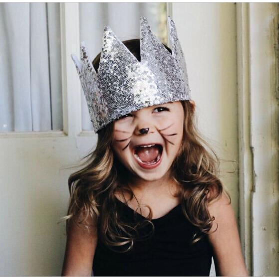 Ins Hot 2016 Babies Sequined Hats Kids Girls Hood Princess Cap Baby Girl Spring Summer Crown Hat Children's Wholesale Cap