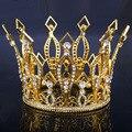 Европейский Королевский Позолоченный Венец Горный Хрусталь Диадемы Свадебные Королева/Принцесса Волосы Ювелирные Изделия свадебные аксессуары для волос