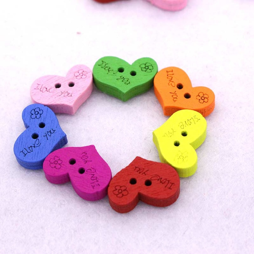 aliexpresscom buy 90pcslot heart button random mix wooden dyed buttons craft scrapbook sewing accessories cardmaking diy home decor tools from reliable