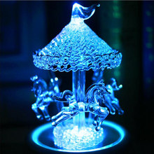 Flash Light Crystal Mp3 Bluetooth Merry-Go-Round Carousel Music Box Kids Girls Birthday Christmas Gift Wedding Decoration Crafts(China)