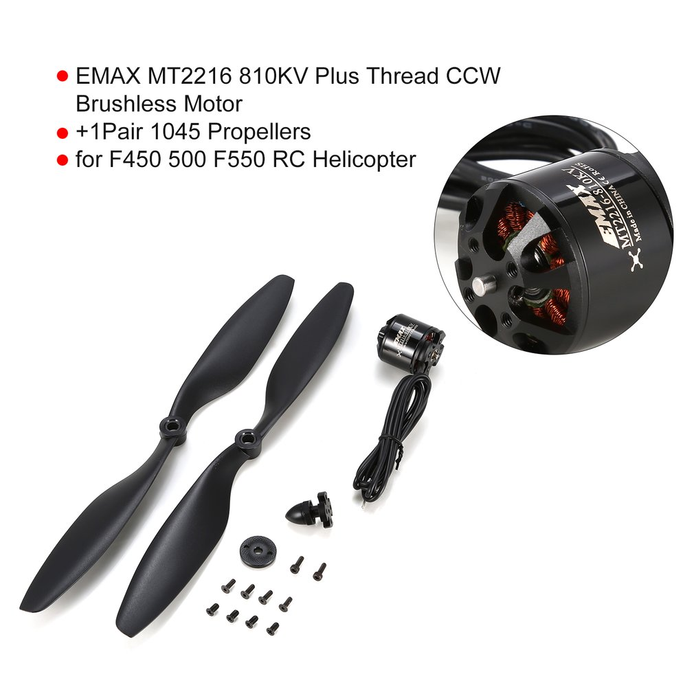 EMAX Plus Thread CCW Brushless Motor+1Pair 1045 Propellers for F450 500 F550 RC Helicopter Part Accessories image